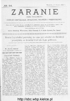 Zaranie : pismo tygodniowe ogólno-kształcące, społeczne, rolnicze i przemysłowe 1913, nr 34