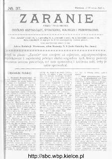 Zaranie : pismo tygodniowe ogólno-kształcące, społeczne, rolnicze i przemysłowe 1913, nr 37