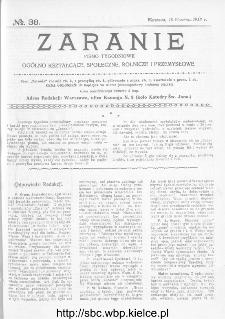 Zaranie : pismo tygodniowe ogólno-kształcące, społeczne, rolnicze i przemysłowe 1913, nr 38