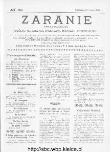 Zaranie : pismo tygodniowe ogólno-kształcące, społeczne, rolnicze i przemysłowe 1913, nr 39