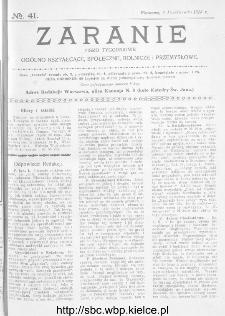 Zaranie : pismo tygodniowe ogólno-kształcące, społeczne, rolnicze i przemysłowe 1913, nr 41