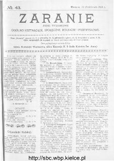 Zaranie : pismo tygodniowe ogólno-kształcące, społeczne, rolnicze i przemysłowe 1913, nr 43