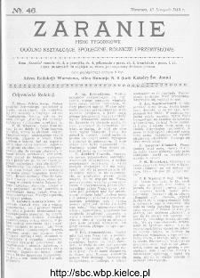Zaranie : pismo tygodniowe ogólno-kształcące, społeczne, rolnicze i przemysłowe 1913, nr 46