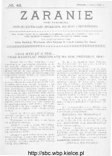 Zaranie : pismo tygodniowe ogólno-kształcące, społeczne, rolnicze i przemysłowe 1913, nr 49