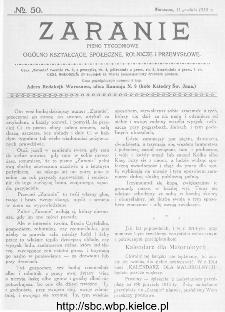 Zaranie : pismo tygodniowe ogólno-kształcące, społeczne, rolnicze i przemysłowe 1913, nr 50