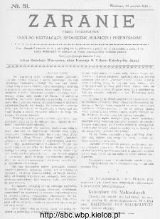 Zaranie : pismo tygodniowe ogólno-kształcące, społeczne, rolnicze i przemysłowe 1913, nr 51
