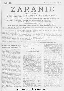 Zaranie : pismo tygodniowe ogólno-kształcące, społeczne, rolnicze i przemysłowe 1913, nr 52