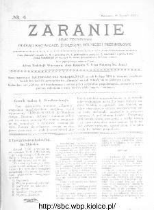 Zaranie : pismo tygodniowe ogólno-kształcące, społeczne, rolnicze i przemysłowe 1914, nr 4