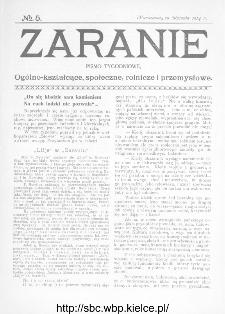 Zaranie : pismo tygodniowe ogólno-kształcące, społeczne, rolnicze i przemysłowe 1914, nr 5