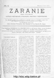 Zaranie : pismo tygodniowe ogólno-kształcące, społeczne, rolnicze i przemysłowe 1914, nr 6