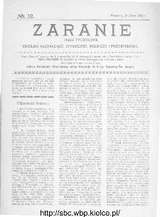 Zaranie : pismo tygodniowe ogólno-kształcące, społeczne, rolnicze i przemysłowe 1914, nr 12