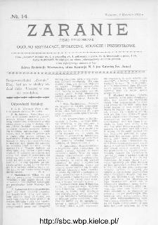 Zaranie : pismo tygodniowe ogólno-kształcące, społeczne, rolnicze i przemysłowe 1914, nr 14