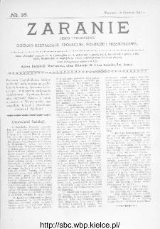 Zaranie : pismo tygodniowe ogólno-kształcące, społeczne, rolnicze i przemysłowe 1914, nr 16