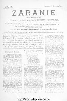 Zaranie : pismo tygodniowe ogólno-kształcące, społeczne, rolnicze i przemysłowe 1914, nr 17