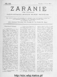 Zaranie : pismo tygodniowe ogólno-kształcące, społeczne, rolnicze i przemysłowe 1914, nr 23