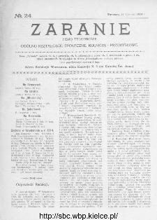 Zaranie : pismo tygodniowe ogólno-kształcące, społeczne, rolnicze i przemysłowe 1914, nr 24