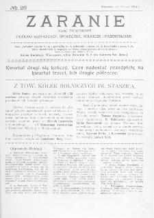 Zaranie : pismo tygodniowe ogólno-kształcące, społeczne, rolnicze i przemysłowe 1914, nr 26
