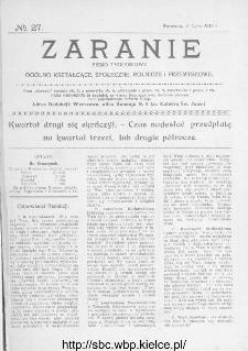 Zaranie : pismo tygodniowe ogólno-kształcące, społeczne, rolnicze i przemysłowe 1914, nr 27
