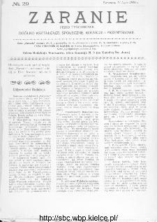 Zaranie : pismo tygodniowe ogólno-kształcące, społeczne, rolnicze i przemysłowe 1914, nr 29