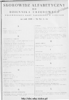 Dziennik Urzędowy Wojewódzkiej Rady Narodowej w Kielcach 1959, nr 1
