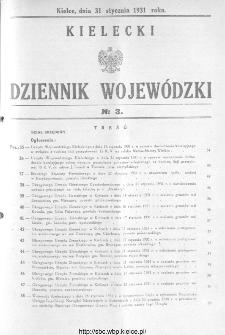 Kielecki Dziennik Wojewódzki 1931, nr 3