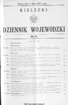 Kielecki Dziennik Wojewódzki 1931, nr 15