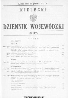 Kielecki Dziennik Wojewódzki 1931, nr 27