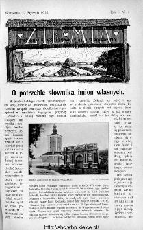 Ziemia : tygodnik krajoznawczy ilustrowany 1910, nr 4