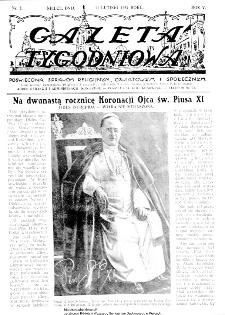 Gazeta Tygodniowa. Poświęcona sprawom religijnym, oświatowym i społecznym,1934, R.4, nr 7
