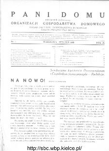 Pani Domu : miesięcznik poświęcony organizacji gospodarstwa domowego : organ Instytutu Gospodarstwa Domowego : organ Związku Pań Domu, 1935, nr 1