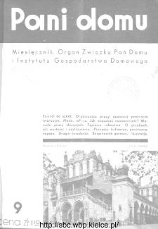 Pani Domu : miesięcznik poświęcony organizacji gospodarstwa domowego : organ Instytutu Gospodarstwa Domowego : organ Związku Pań Domu, 1935, nr 9