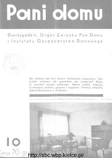 Pani Domu : dwutygodnik poświęcony organizacji gospodarstwa domowego : organ Instytutu Gospodarstwa Domowego : organ Związku Pań Domu, 1935, nr 10