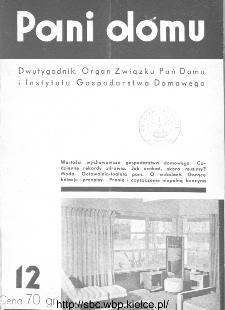 Pani Domu : dwutygodnik poświęcony organizacji gospodarstwa domowego : organ Instytutu Gospodarstwa Domowego : organ Związku Pań Domu, 1935, nr 12