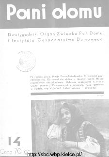 Pani Domu : dwutygodnik poświęcony organizacji gospodarstwa domowego : organ Instytutu Gospodarstwa Domowego : organ Związku Pań Domu, 1935, nr 14