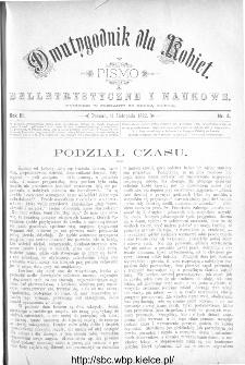 Dwutygodnik dla Kobiet : pismo beletrystyczne i naukowe, R.3, 1882, nr 4