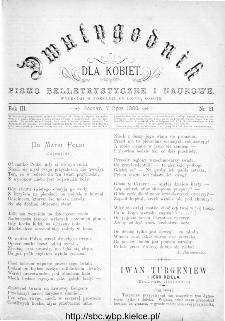 Dwutygodnik dla Kobiet : pismo beletrystyczne i naukowe, R.3, 1883, nr 21