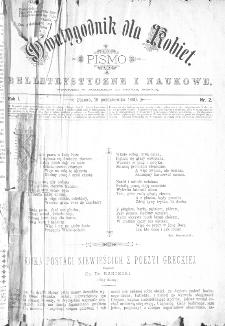Dwutygodnik dla Kobiet : pismo beletrystyczne i naukowe, R.1, 1880, nr 2