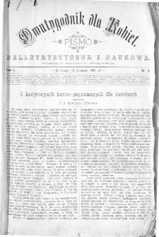 Dwutygodnik dla Kobiet : pismo beletrystyczne i naukowe, R.1, 1880, nr 4
