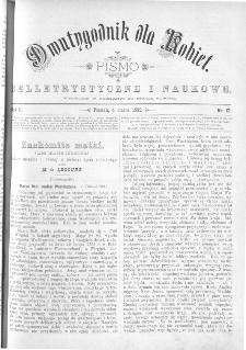Dwutygodnik dla Kobiet : pismo beletrystyczne i naukowe, R.2 1882, nr 12
