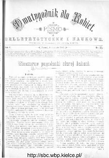 Dwutygodnik dla Kobiet : pismo beletrystyczne i naukowe, R.2, 1882, nr 23