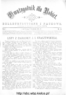 Dwutygodnik dla Kobiet : pismo beletrystyczne i naukowe, R.1, 1881, nr 16