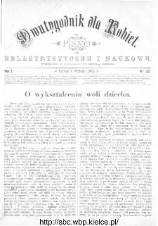 Dwutygodnik dla Kobiet : pismo beletrystyczne i naukowe, R.1, 1881, nr 25