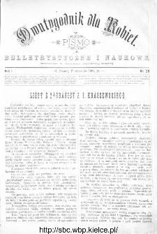 Dwutygodnik dla Kobiet : pismo beletrystyczne i naukowe, R.1, 1881, nr 26