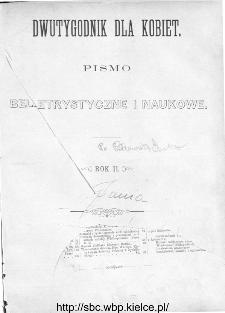 Spis rzeczy zawartych w II-gim roczniku Dwutygodniku dla Kobiet od I października 1881 do 15. września 1882