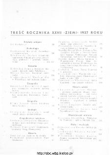 Ziemia : ilustrowany miesięcznik krajoznawczy 1937, R.XXVII, spis treści