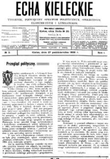 Echa Kieleckie. Tygodnik poświęcony sprawom politycznym, ekonomicznym i literaturze, 1907, R.2, nr 1