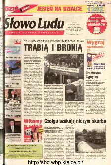Słowo Ludu 2002 R.LIV, nr 222 (Ponidzie, Jędrzejów, Włoszczowa,Sandomierz, Staszów, Opatów)