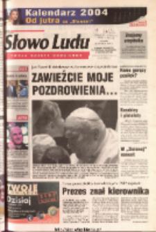 Słowo Ludu 2003 R.LIV, nr 269 (Ponidzie, Jędrzejów, Włoszczowa, Sandomierz, Staszów, Opatów)
