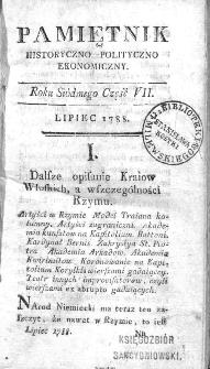 Pamiętnik Historyczno-Polityczno Ekonomiczny : przypadków, ustaw, osób, mieysc i pism, wiek nasz szczególniey interessuiących