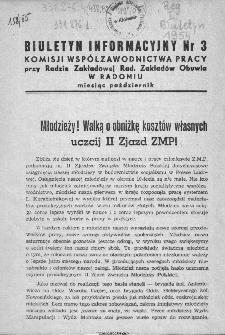 Biuletyn Informacyjny Komisji Współzawodnictwa Pracy przy Radzie Zakładowej Radomskich Zakładów Obuwia w Radomiu